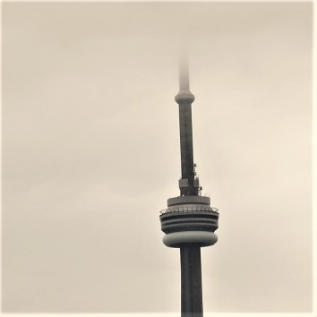 CN tower in fog