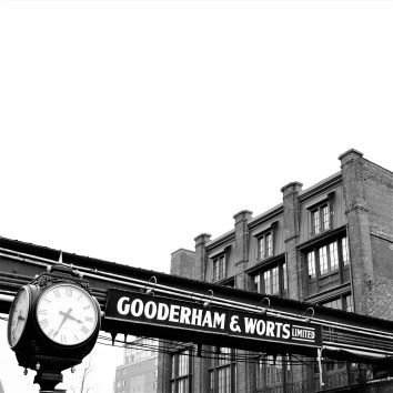 gooderham & worts sign w.clock - distillery district