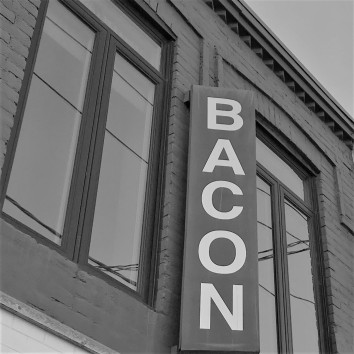 toronto - queen & carlaw - rasher's restaurant bacon sign