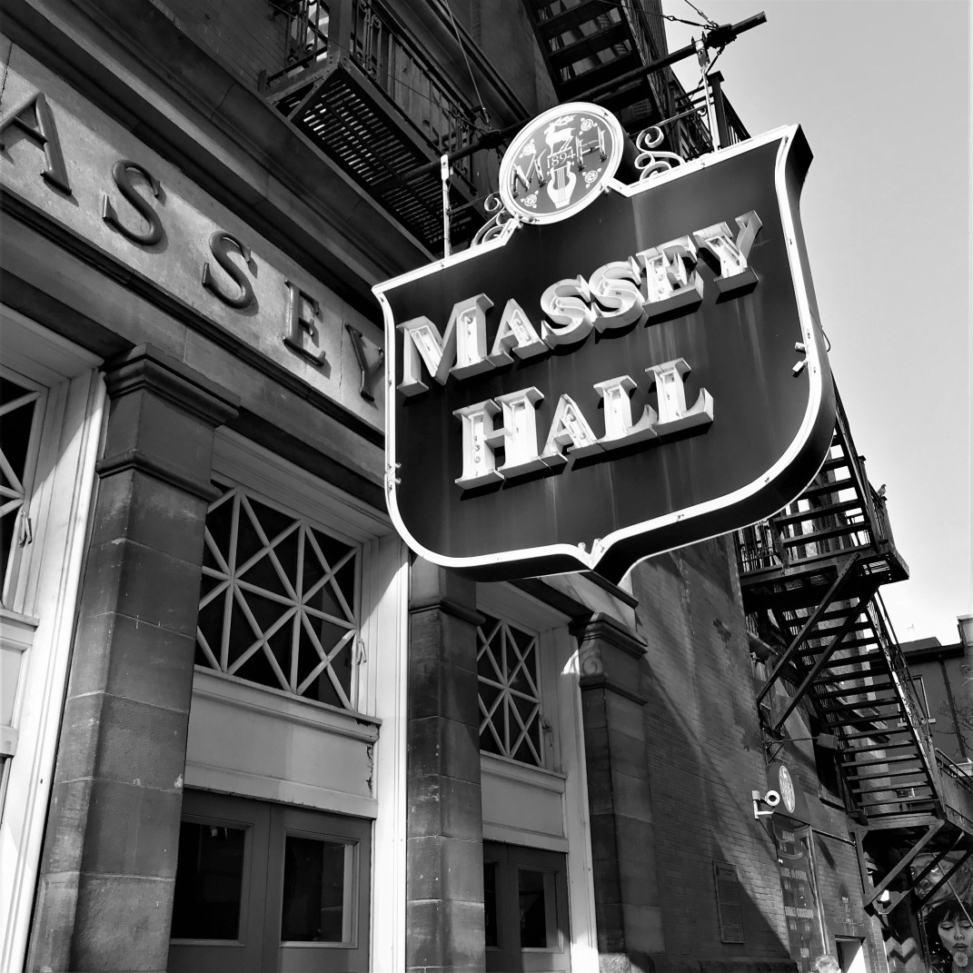 massey hall sign (bw) - shuter & victoria